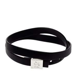 CH Carolina Herrera Black Leather Let it Glow Double Loop Bracelet