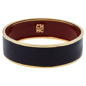 Carolina Herrera CH Black Enamel Gold Tone Wide Bangle Bracelet