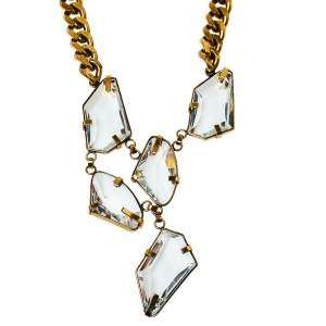 Carolina Herrera Abstract Crystal Pendant Curb Chain Necklace