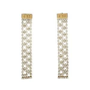 Carolina Herrera Gold Tone Crystal Mesh Drop Earrings