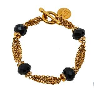 Carolina Herrera Gold Tone Multi Strand Black Beaded Toggle Bracelet