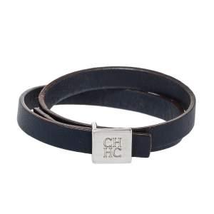 Carolina Herrera Blue Leather Let it Glow Double Loop Bracelet