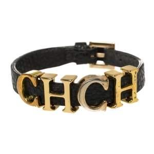 Carolina Herrera Black Leather Gold Tone Adriana Bracelet
