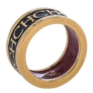 CH Carolina Herrera Black Logo Enamel Gold Tone Band Ring EU 57
