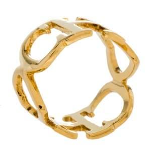 CH Carolina Herrera Gold Tone Logo Heart Band Ring Size EU 53