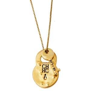 CH Carolina Herrera Vintage Gold Tone Lock & Key Pendant Chain Necklace