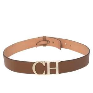 CH Carolina Herrera Brown Leather CH Logo Waist Belt 80CM