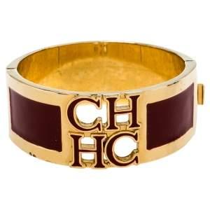 CH Carolina Herrera Red Enamel Logo Gold Tone Cuff Bracelet