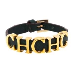 CH Carolina Herrera Green Leather Logo Wrap Bracelet
