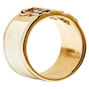 CH Carolina Herrera Logo Off White Enamel Gold Tone Wide Band Ring Size 54.5