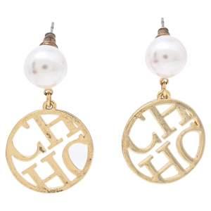 CH Carolina Herrera Gold Tone Logo Drop Earrings