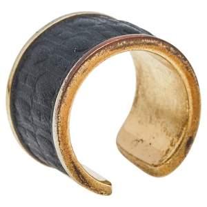 CH Carolina Herrera Black Leather Gold Tone Open Ring Size 52.5