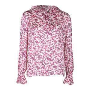 CH Carolina Herrera White and Pink Printed Silk Long Sleeve Blouse M