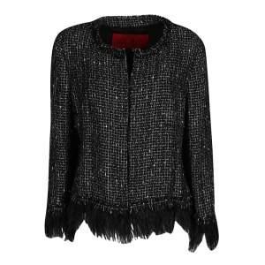 CH Carolina Herrera Monochrome Textured Fringed Ostrich Feather Trim Jacket L