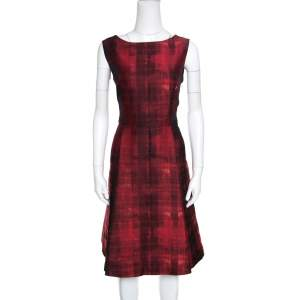 CH Carolina Herrera Red and Black Abstract Pattern Jacquard Sheath Dress L
