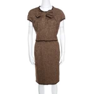 CH Carolina Herrera Brown Bow Detail Fringed Edge Cap Sleeve Dress XL