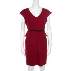 CH Carolina Herrera Red Wool Half Peplum V-Neck Dress L