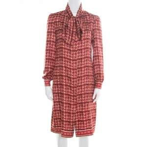 CH Carolina Herrera Red Abstract Printed Silk Button Front Tunic Dress S