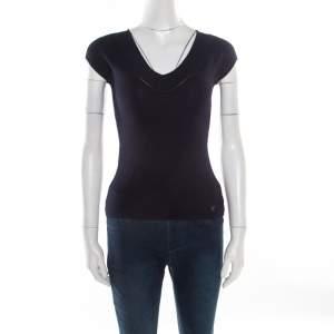 CH Carolina Herrera Navy Blue V-Neck Sleeveless Knit Top XS
