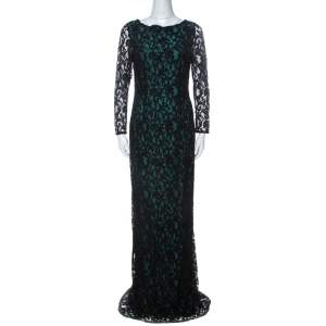 CH Carolina Herrera Green and Black Lace Long Sleeve Gown M