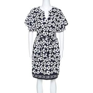 CH Carolina Herrera Navy Blue Floral Print Silk and Linen Blend Dress M