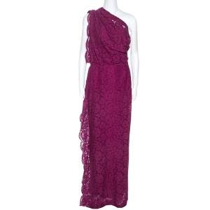 CH Carolina Herrera Magenta Lace Draped Detail One Shoulder Dress M