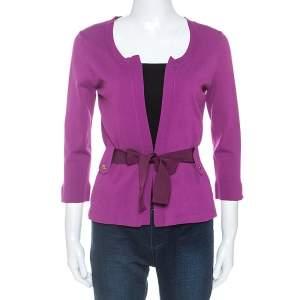 CH Carolina Herrera Purple Stretch Knit Belted Cardigan XS