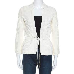 CH Carolina Herrera White Cable Knit Cotton Drawstring Waist Cardigan XS