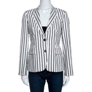 CH Carolina Herrera Monochrome Striped Linen Blend Blazer S