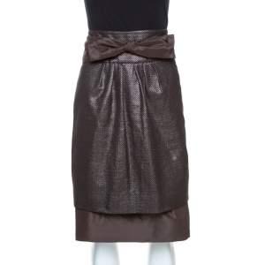CH Carolina Herrera Brown Lurex Jacquard Silk Bow Detail Skirt L