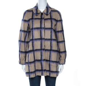 CH Carolina Herrera Beige Alpaca Trim Windowpane Check Coat XS