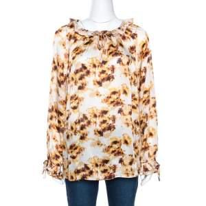 CH Carolina Herrera White & Brown Printed Silk Ruffled Blouse L