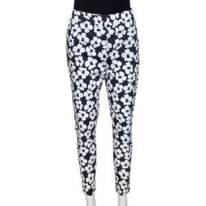 CH Carolina Herrera Navy Blue Floral Print Stretch Cotton Pants M
