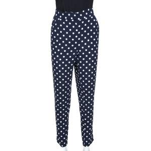 CH Carolina Herrera Navy Blue Polka Dotted Tapered High Waist Trousers M