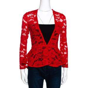 CH Carolina Herrera Red Floral Lace Jacket S