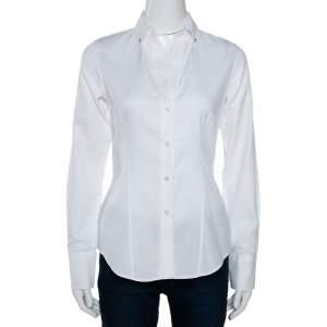 CH Carolina Herrera White Cotton Jacquard Logo Pattern Button Front Shirt S