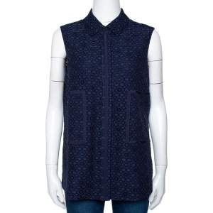 CH Carolina Herrera Navy Blue Corded Lace Button Front Top S