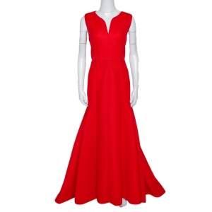 CH Carolina Herrera Red Tricot Mesh Sleeveless Gown L