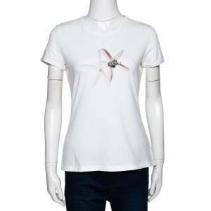 CH Carolina Herrera White Star Fish Embellished Stretch Cotton Top M