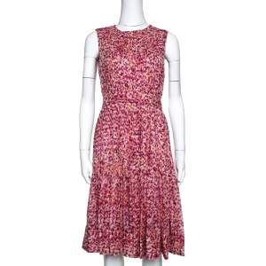 CH Carolina Herrera Fuschia & Orange Abstract Printed Silk Pleated Dress S
