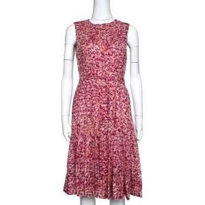فستان سي إتش كارولينا هيريرا حرير مطبوع برتقالي وفوشيا بطيات مقاس صغير (سمول)