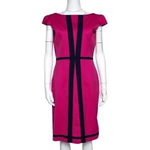 CH Carolina Herrera Pink Textured Cotton Blend Cap Sleeve Dress  M