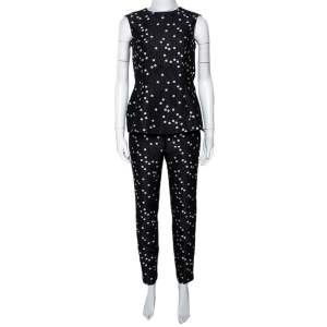 CH Carolina Herrera Black Polka Dot Peplum Top & Pant Set XS