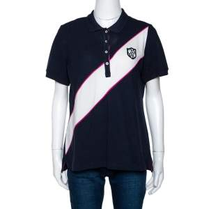 CH Carolina Herrera Tricolor Knit Diagonal Panel Logo Embroidered Polo T-Shirt L