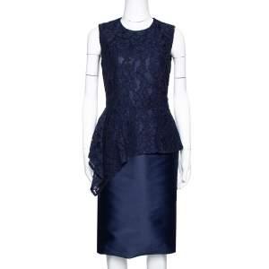 CH Carolina Herrera Navy Blue Lace Sleeveless Peplum Dress S