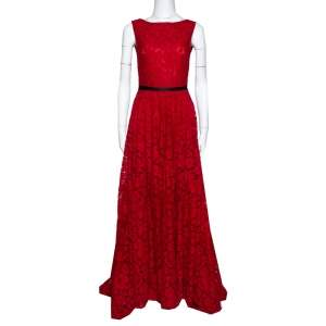 CH Carolina Herrera Red Lace Bow Detail Sleeveless Gown S