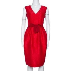CH Carolina Herrera Red Floral Embossed Jacquard Sleeveless Dress M