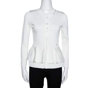 CH Carolina Herrera Off White Knit Peplum Cardigan XS