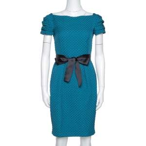 CH Carolina Herrera Teal Houndstooth Pattern Embossed Sheath Dress S
