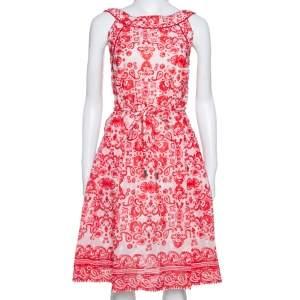 CH Carolina Herrera Red & White Floral Print Cotton Sleeveless Dress L
